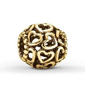 Brand New yellow gold heart Pandora charm